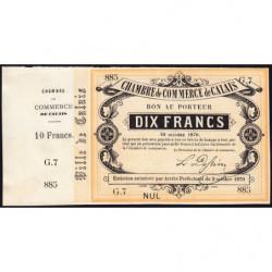 Ch. de Comm. Calais - Jer 62.11B - 10 francs - 10/10/1870 - Etat : SUP+