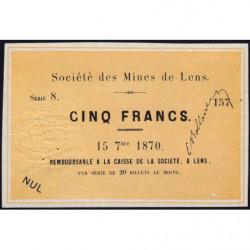 Mines de Lens - Jer 62.17A - 5 francs - 15/09/1870 - Etat : SPL