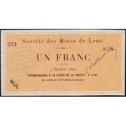Mines de Lens - Jer 62.17B - 1 franc - 05/10/1870 - Etat : SPL