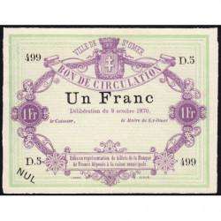 Ville de Saint-Omer - Jer 62.24A - 1 franc - 09/10/1870 - Etat : SPL