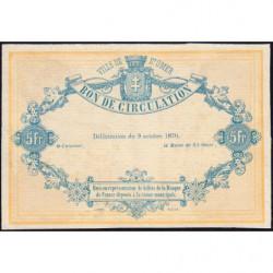 Ville de Saint-Omer - Jer 62.24B - 5 francs - 09/10/1870 - Epreuve - Etat : SPL
