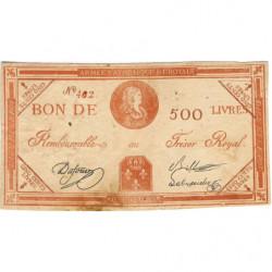 Louis XVII - Laf 278 faux - 500 livres - 1793 - Etat : TTB