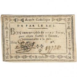 Stofflet - Laf 273 - 5 livres - 1794 - Etat : SUP