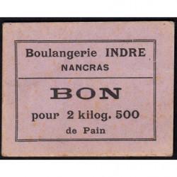 17 - Nancras - Boul. Indre - Bon pour 2 kilog. 500 de pain - Etat : SUP+