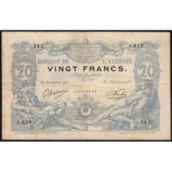 Algérie - Pick 72_2 - 20 francs - 07/05/1910 - Etat : TB+ (billet rarissime)