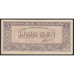 Indonésie - Pick 14 - 5 sen - 17/10/1945 - Etat : NEUF