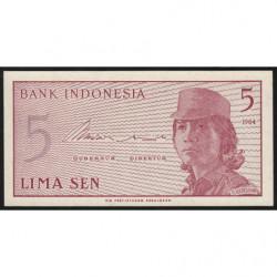 Indonésie - Pick 91a - 5 sen - 1964 - Etat : NEUF