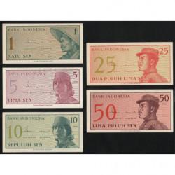 Indonésie - Pick 90a à 94a - Lot de 5 billets - 1964 - Etat : NEUF