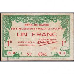 Océanie française - Pick 11c - 1 franc - 1943 - Etat : TB+
