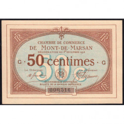 Mont-de-Marsan - Pirot 82-1 - 50 centimes - Série G - 1914 - Etat : pr.NEUF