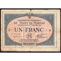 Mont-de-Marsan - Pirot 82-5 - 1 franc - Série X - 1914 - Etat : TB-