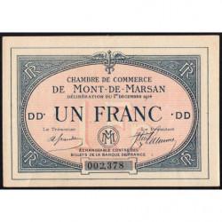 Mont-de-Marsan - Pirot 82-7 - 1 franc - Série DD - 01/12/1914 - Etat : SUP+