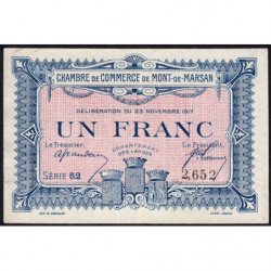 Mont-de-Marsan - Pirot 82-28 - Série 52 - 1 franc - 1917 - Etat : TTB