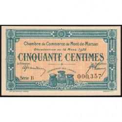 Mont-de-Marsan - Pirot 82-36 - 50 centimes - Série B - 16/03/1922 - Etat : NEUF
