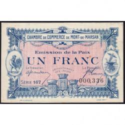 Mont-de-Marsan - Pirot 82-35 - 1 franc - Série 167 - Emission de la Paix 1921 - Etat : pr.NEUF