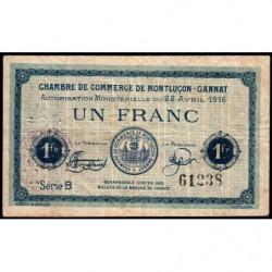 Montluçon-Gannat - Pirot 84-23 - Série B - 1 franc- 1916 - Etat : TB