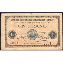 Montluçon-Gannat - Pirot 84-58b - 1 franc - Série B - 1921 - Etat : B+