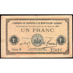 Montluçon-Gannat - Pirot 84-58b - Série B - 1 franc - 1921 - Etat : B+