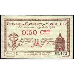 Montpellier - Pirot 85-1 - 50 centimes - Série 35 - 09/08/1915 - Etat : TTB