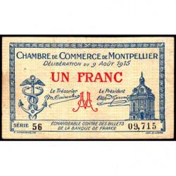 Montpellier - Pirot 85-10a - 1 franc - Série 56 - 09/08/1915 - Etat : TB