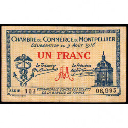 Montpellier - Pirot 85-10b - 1 franc - 1915 - Etat : TB+