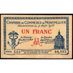 Montpellier - Pirot 85-10b - 1 franc - Série 103 - 09/08/1915 - Etat : TB+