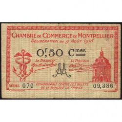 Montpellier - Pirot 85-6 - 50 centimes - Série 070 - 09/08/1915 - Etat : TB-