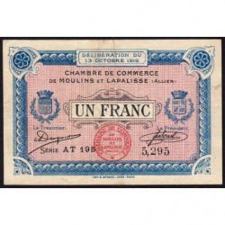 Moulins et Lapalisse - Pirot 86-9b - 1 franc - Série AT 195 - 1916 - Etat : TTB