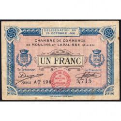 Moulins et Lapalisse - Pirot 86-9b - 1 franc - Série AT 195 - 13/10/1916 - Etat : TTB-