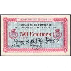 Moulins et Lapalisse - Pirot 86-12 - Sans série - 50 centimes - Annulé - 1917 - Etat : SUP+