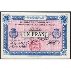 Moulins et Lapalisse - Pirot 86-14 - Série O 215 - 1 franc - Annulé - 1917 - Etat : SUP+
