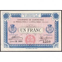 Moulins et Lapalisse - Pirot 86-17a - 1 franc - Série M 263 - 09/01/1920 - Etat : SUP+