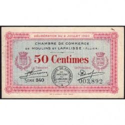 Moulins et Lapalisse - Pirot 86-18 - 50 centimes - Série 340 - 02/07/1920 - Etat : TTB-