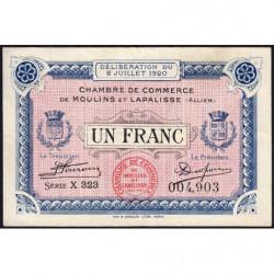 Moulins et Lapalisse - Pirot 86-20a - 1 franc - Série X 323 - 02/07/1920 - Etat : TTB
