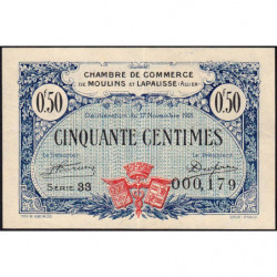 Moulins et Lapalisse - Pirot 86-22 - 50 centimes - Série 33 - 1921 - Etat : TTB+