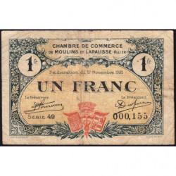 Moulins et Lapalisse - Pirot 86-24 - 1 franc - Série 49 - 17/11/1921 - Etat : TB-
