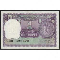 Inde - Pick 77u - 1 rupee - 1977 - Sans lettre - Etat : SUP