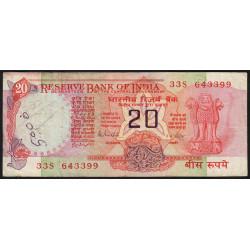 Inde - Pick 82h - 20 rupees - 1989 - Lettre B - Etat : B+