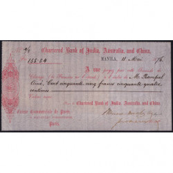 Chartered Bank of India, Australia and China - 155 francs - 1876 - Etat : SUP+