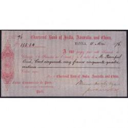 Chartered Bank of India, Australia and China - 155 francs - 1876 - Etat : SUP+