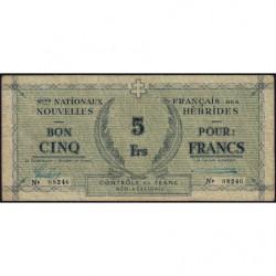 Nouvelles Hébrides - Pick 1_2 - 5 francs - 1943 - Etat : TTB-