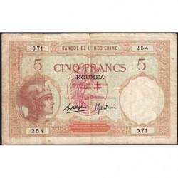 Nouvelles Hébrides - Pick 4b - 5 francs - 1941 - Etat : TB