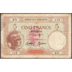 Nouvelles Hébrides - Pick 4b - 5 francs - 1941 - Etat : TB-