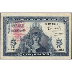 Nouvelles Hébrides - Pick 5 - 5 francs - 1945 - Etat : TB+