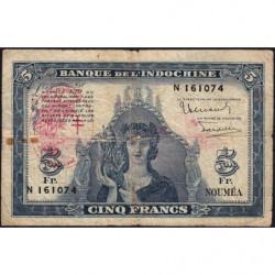 Nouvelles Hébrides - Pick 5 - 5 francs - 1945 - Etat : TB-