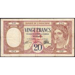 Nouvelles Hébrides - Pick 6 - 20 francs - 1941 - Etat : TTB-