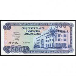 Burundi - Pick 30c - 500 francs - 01/05/1988 - Etat : NEUF