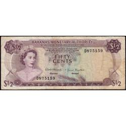 Bahamas - Pick 26 - 1/2 dollar - Série D - Loi 1968 - Etat : TB