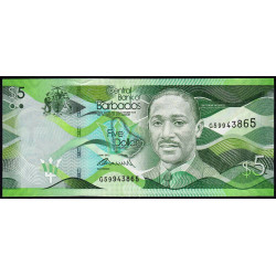 Barbade - Pick 74a - 5 dollars - 02/05/2013 - Etat : NEUF
