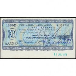 Belgique - Chèque de voyage - Kredietbank - 1'000 francs - 05/09/1972 - Etat : SUP+